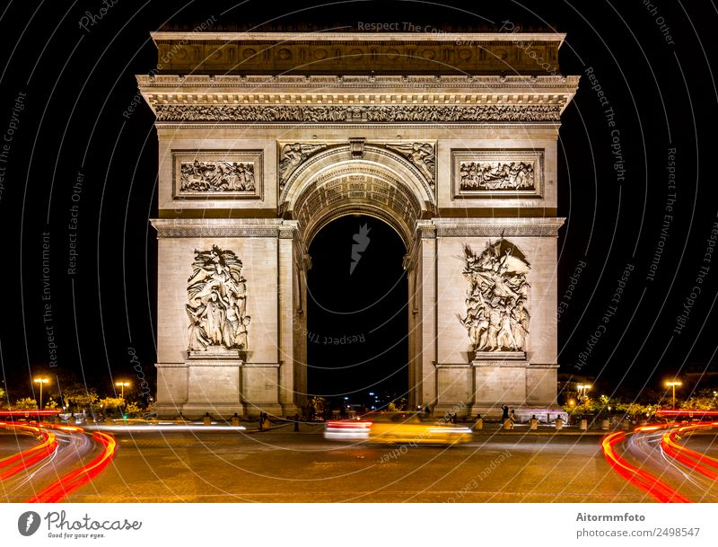 Arc de triomphe in Paris at dark night Vacation & Travel Tourism Trip Sightseeing City trip Night life Architecture Culture Landscape Town Capital city Building