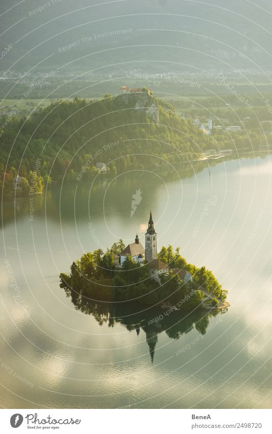 Lake Bled with island and Marienkirche before the Julian Alps Vacation & Travel Tourism Sightseeing Summer Summer vacation Island Environment Nature Landscape