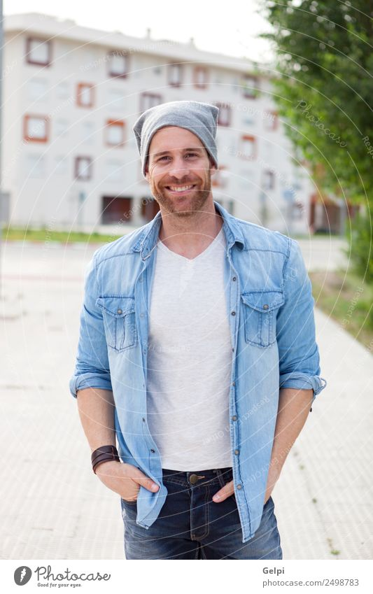 Casual guy Lifestyle Style Hair and hairstyles Face Relaxation Summer Human being Masculine Boy (child) Man Adults Nature Park Street Fashion Shirt Jeans Beard