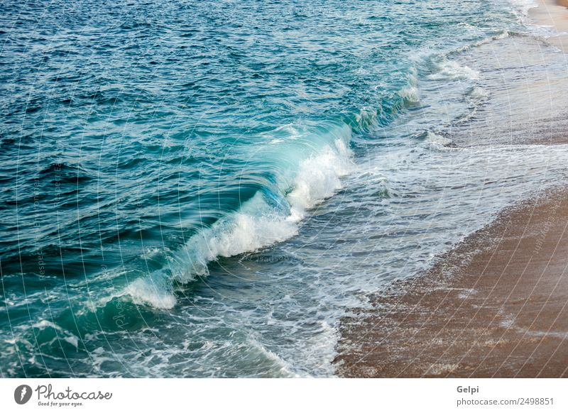 Foamed blue waves Relaxation Vacation & Travel Tourism Summer Sun Beach Ocean Nature Sand Horizon Weather Coast Glittering Hot Wet Natural Blue Yellow White