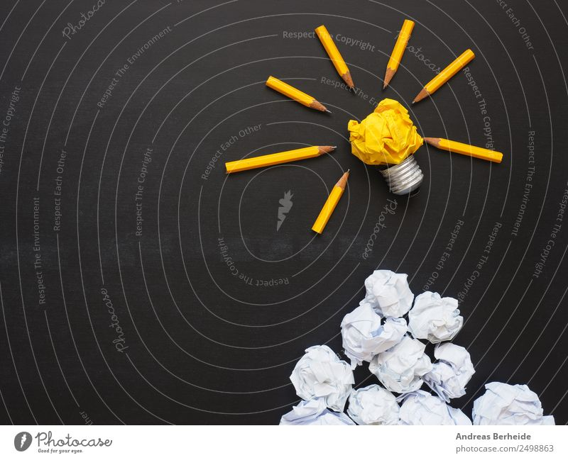 Ideas, light bulb, paper balls on a board Blackboard Business Team Paper Piece of paper Pen Yellow Success Uniqueness Innovative Inspiration Creativity Teamwork
