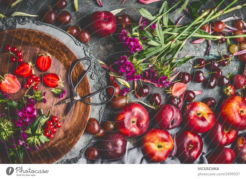 Berries, peaches and flowers from the garden on a retro table Food Fruit Nutrition Breakfast Organic produce Vegetarian diet Plate Style Design Healthy Eating