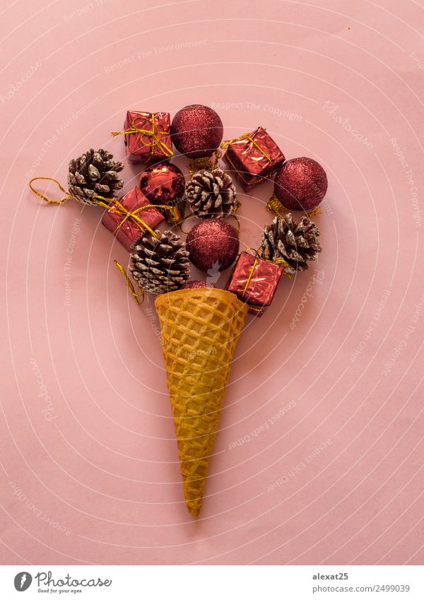 Summer christmas concept Christmas & Advent Red Love Feasts & Celebrations Pink Design Bright Decoration Ice cream Photography New Seasons Conceptual design