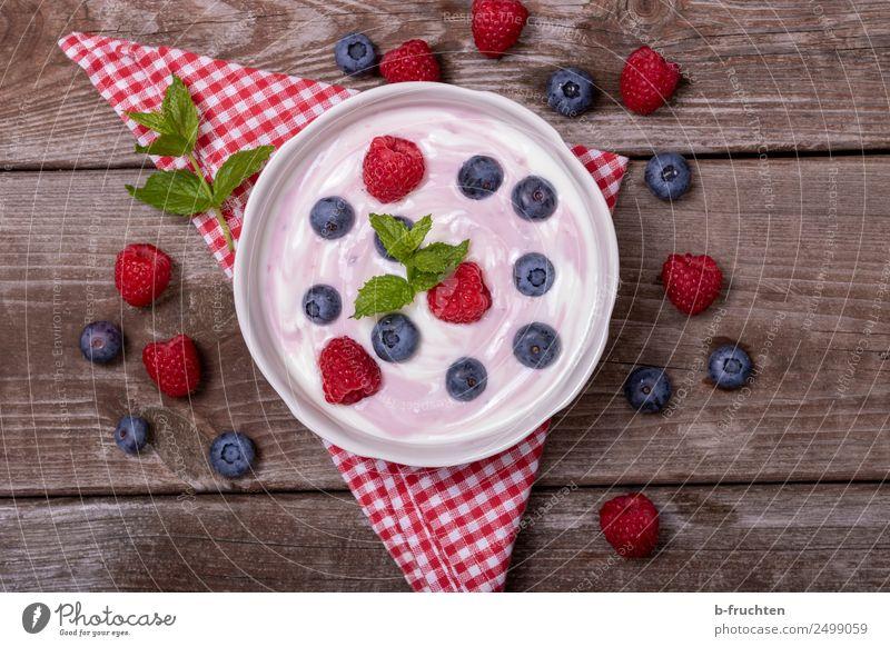 Fresh hay-milk yoghurt with fruit Food Yoghurt Dairy Products Fruit Picnic Organic produce Bowl Healthy Summer Garden Glass To enjoy Raspberry wild berries