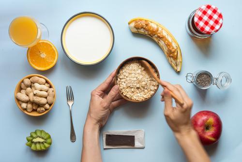 Healthy breakfast Yoghurt Vegetable Fruit Apple Croissant Dessert Nutrition Breakfast Vegetarian diet Diet Juice Tea Bowl Summer Table Kitchen Fitness Authentic