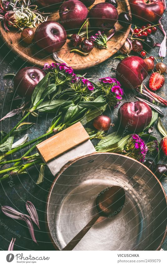 Summer fruit from garden and pot with spoon Food Fruit Nutrition Pot Spoon Style Design Healthy Eating Life Living or residing Table Vintage Still Life Plum
