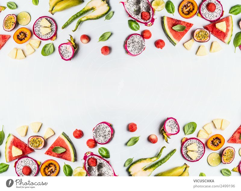 Colorful exotic fruits background frame on white Food Fruit Shopping Style Design Healthy Healthy Eating Yellow Background picture Vitamin Tropical fruits