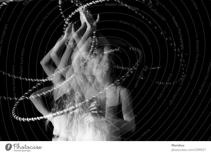 chaos theory Feminine Exceptional Swing Dynamics Hula hoop Dance Kinetic energy Black & white photo Studio shot Experimental Upper body