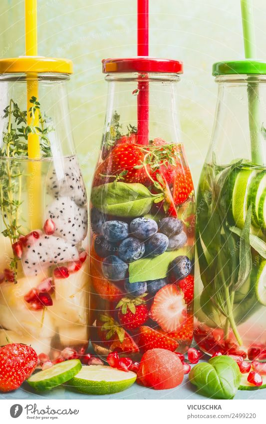 Infused Water Selection Beverage Cold drink Drinking water Lemonade Style Design Healthy Health care Healthy Eating Fitness Summer Sense of taste Fruit Berries