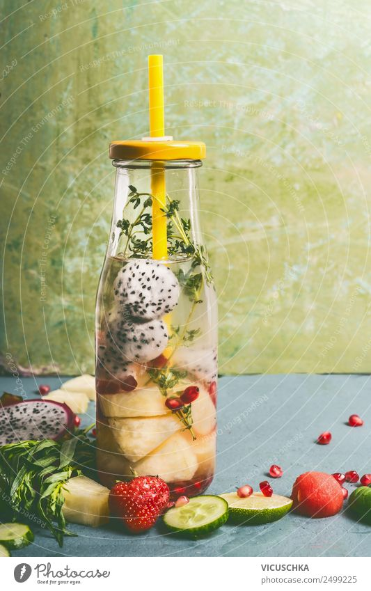 Bottle with fruit and herbs water Food Fruit Herbs and spices Nutrition Organic produce Vegetarian diet Diet Beverage Cold drink Drinking water Style Design