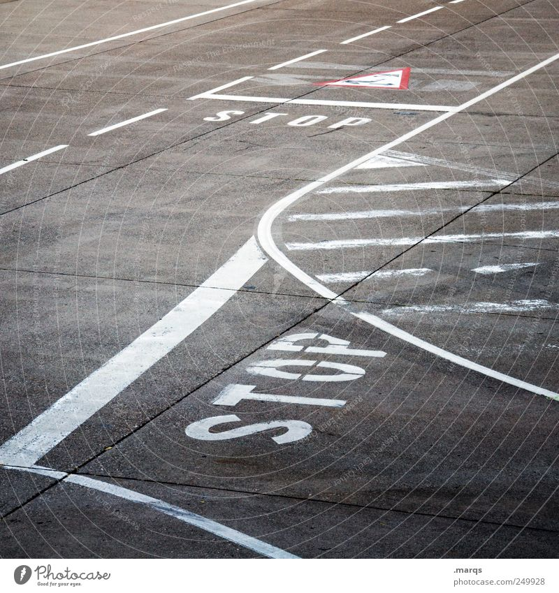 STOP Transport Traffic infrastructure Road traffic Street Crossroads Lanes & trails Road sign Stop Stop sign Runway Sign Signs and labeling Line Stripe Driving
