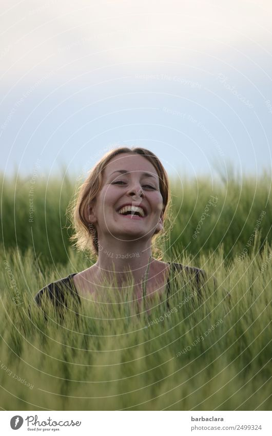 Woman Human being Sky Nature Plant Joy Adults Environment Feminine Emotions Laughter Head Leisure and hobbies Field Happiness Joie de vivre (Vitality)