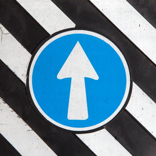 loose Style Design Work and employment Economy Career Transport Road traffic Road sign Sign Signs and labeling Line Arrow Stripe Driving Blue Black White