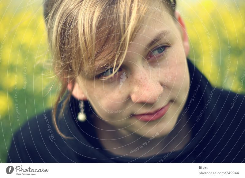 Gossamer. Human being Feminine Young woman Youth (Young adults) 1 18 - 30 years Adults Nature Canola Field Earring Blonde Bangs Braids Smiling Dream Beautiful