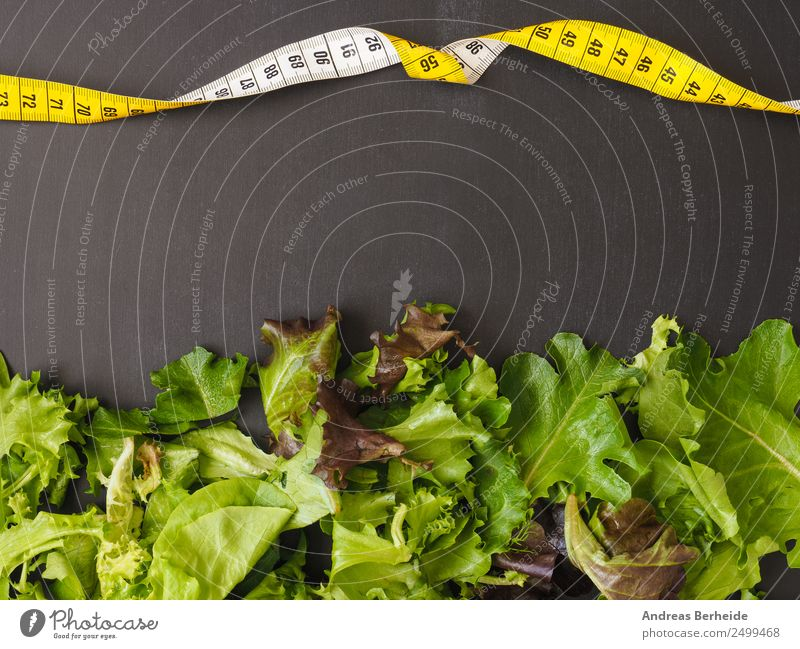 Fresh leaf salad with a measuring tape on a board Lettuce Salad Organic produce Vegetarian diet Diet Lifestyle Healthy Eating Restaurant Snowboard Blackboard