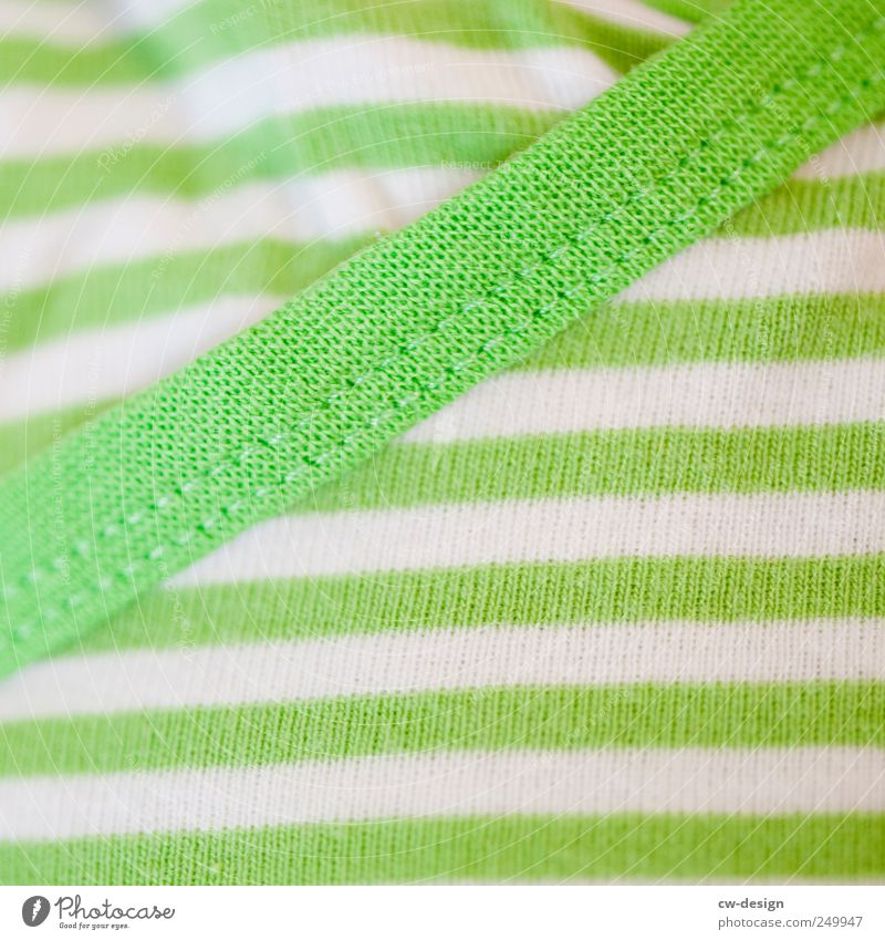 CROSS-STRIPS MAKE THICK Elegant Style Clothing T-shirt Sweater Line Stripe Friendliness Bright Hip & trendy Juicy Crazy Green White Colour Stitching Fresh