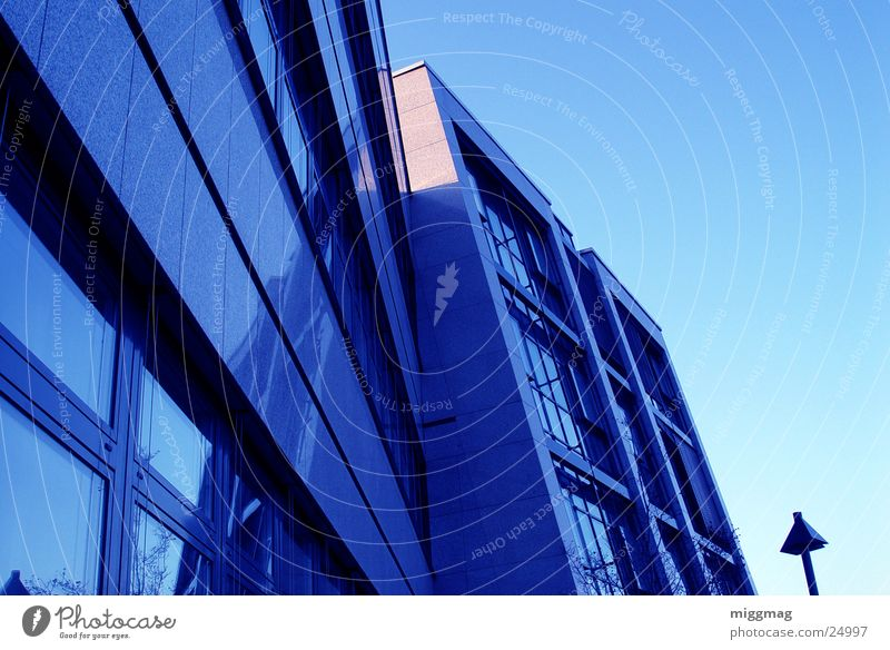 sh Sky Bank building Building Architecture Facade Window Steel Cold Modern Blue Granite Lantern partnerport walldorf Colour photo Exterior shot Copy Space right