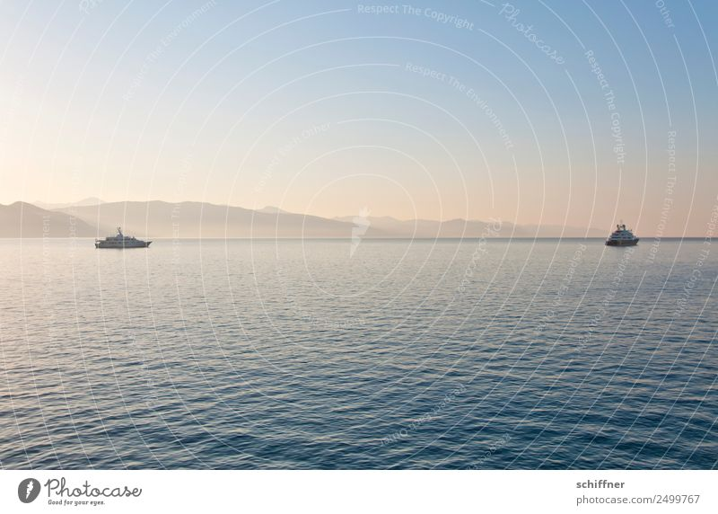 Lady Beatrice and friend Landscape Sunrise Sunset Sunlight Summer Beautiful weather Bay Ocean Navigation Yacht Motorboat Kitsch Calm Morning Morning fog Dawn