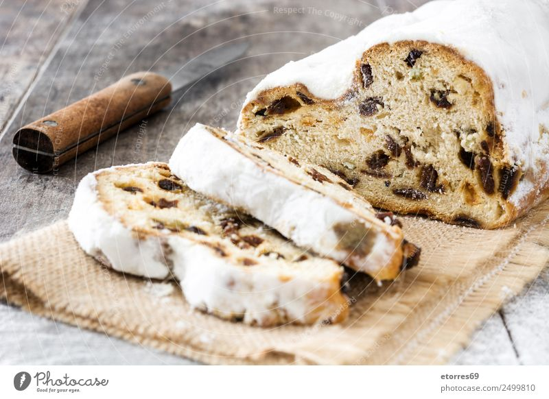 Christmas stollen. Food Fruit Cake Dessert Candy Nutrition Breakfast Lunch Dinner Organic produce Knives Christmas & Advent Wood Good Natural Brown White