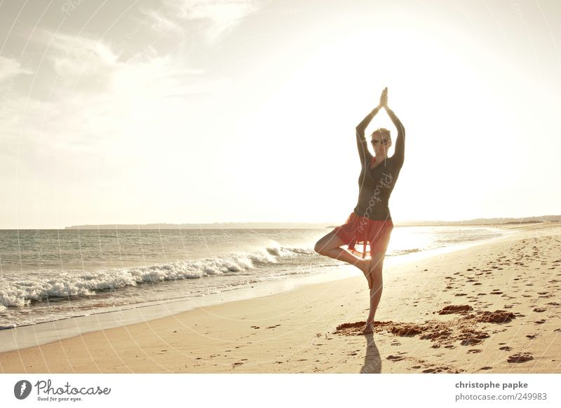 Human being Youth (Young adults) Vacation & Travel Summer Ocean Beach Relaxation Feminine Contentment Waves Wellness Joie de vivre (Vitality) Sports Meditation