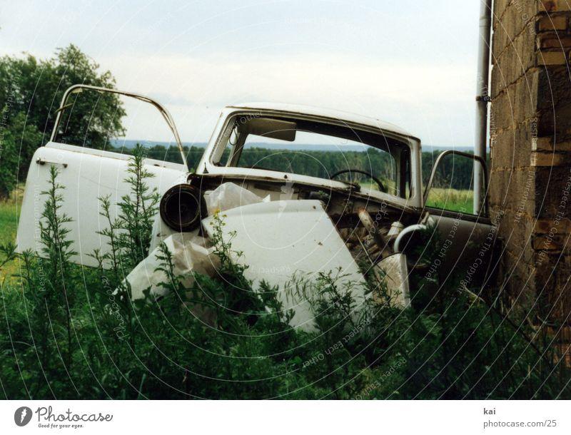 Old Car GDR East Iconic Scrap metal Trabbi Car dump Wrecked car Waste management Ready for scrap