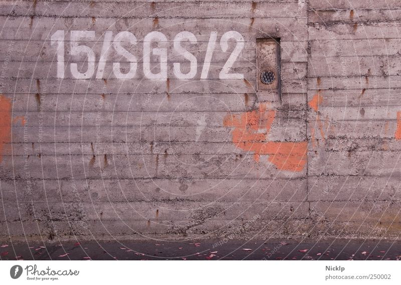 "concrete wall of an air-raid shelter in Siegen with the inscription ""15/SGS/2 Dugout Industrial plant Wall (building) Concrete wall Metal Typography typo Design"