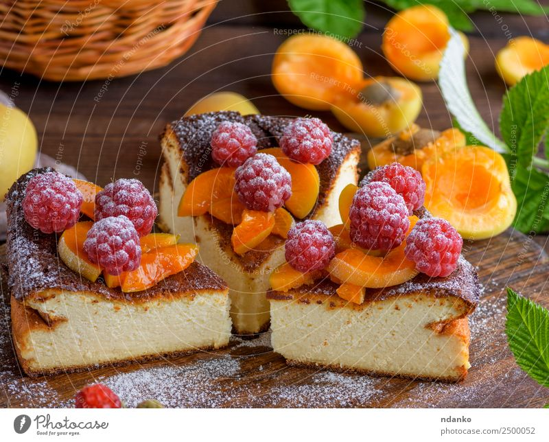 pieces of cottage cheese pie Cheese Fruit Cake Dessert Nutrition Table Fresh Bright Delicious Brown Red White Colour Raspberry Apricot cheesecake Berries food