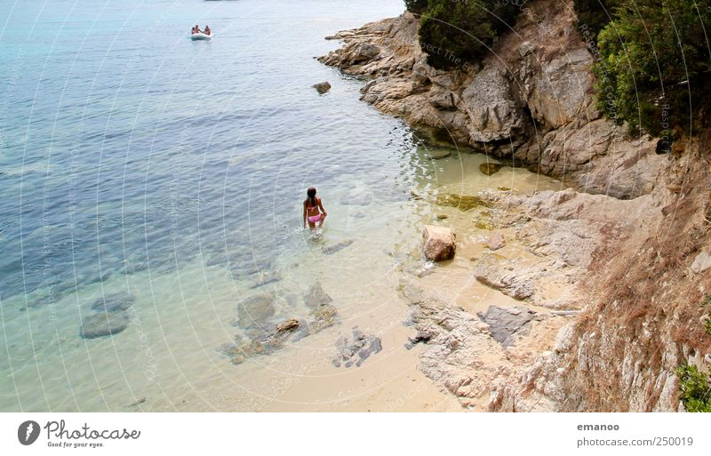 Human being Water Ocean Vacation & Travel Summer Beach Landscape Freedom Rock Wait Swimming & Bathing Island Tourism Stand Bay Summer vacation