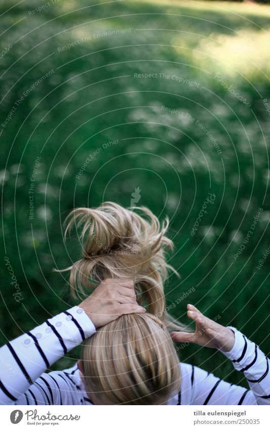 Human being White Green Beautiful Feminine Movement Hair and hairstyles Blonde Natural Masculine Authentic Braids Ponytail Clean up