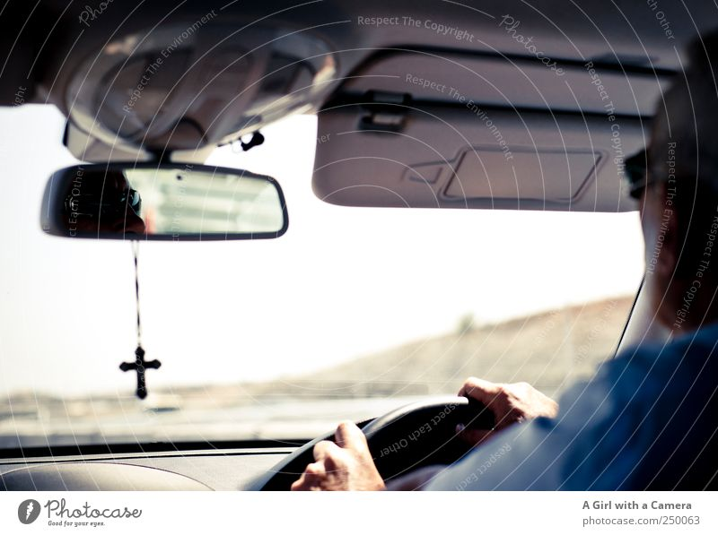 Human being Man Hand Adults Car Religion and faith Masculine Driving To hold on Mirror Concentrate Crucifix Highway Male senior Mirror image Street