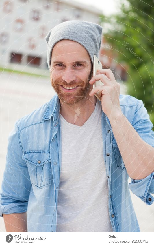 Casual guy Human being Man White Joy Street Adults Lifestyle To talk Style Happy Fashion Leisure and hobbies Modern Technology Smiling Happiness
