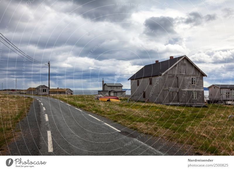 Sky Landscape Ocean House (Residential Structure) Loneliness Calm Far-off places Street Architecture Meadow Grass Building Time Exceptional Moody