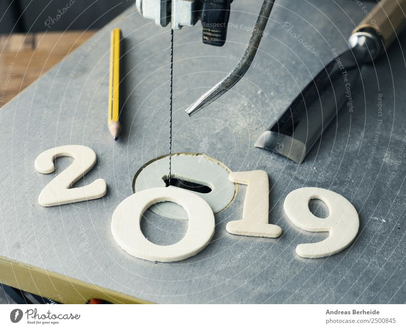 Creative Year 2019, Saw, 2019 made of wood, pencil, chisel, chisel, pencil Handicraft Winter Redecorate Christmas & Advent Craftsperson Workplace Craft (trade)