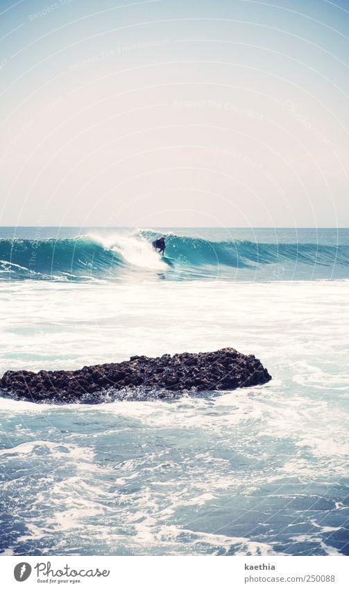 Human being Sky Nature Blue Water Ocean Summer Joy Sports Movement Coast Style Horizon Waves Wind Swimming & Bathing