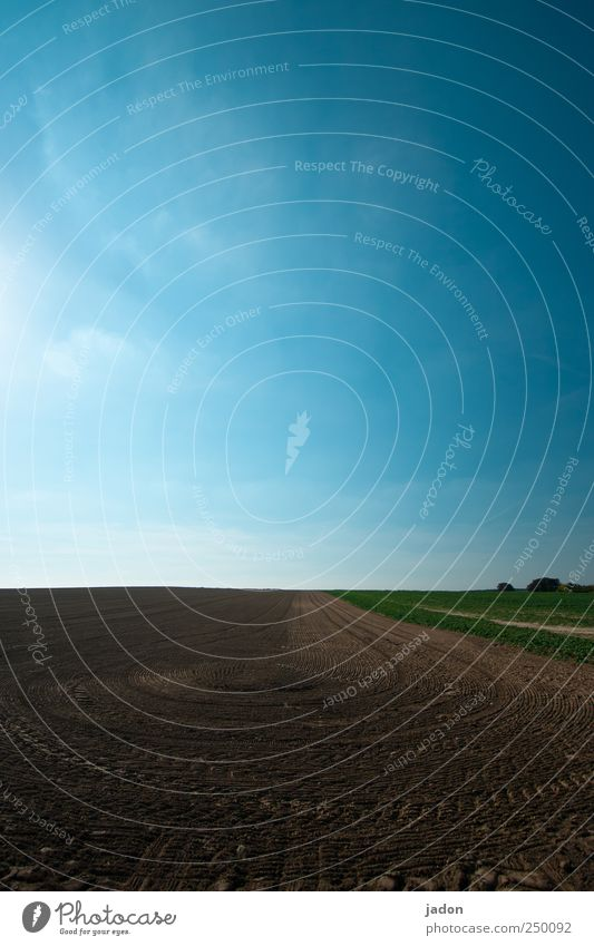agriculture Art Work of art Landscape Earth Sand Sky Beautiful weather Field Village Tractor Line Round Blue Brown Symmetry Tracks Tire tread Curve Impression