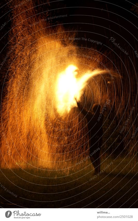 shower of sparks Fire Human being Threat Hot Spark Burn Blaze Erase Colour photo Night shower of fire