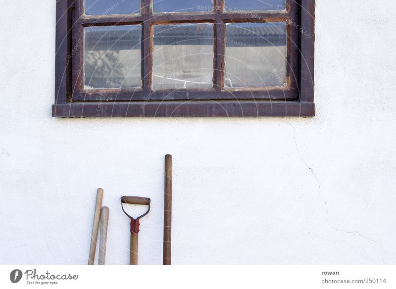 on the farm Tool Shovel Village House (Residential Structure) Building Wall (barrier) Wall (building) Facade Garden Window Old Broomstick Door handle Gardening