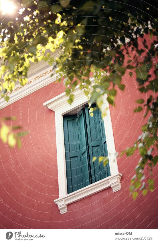 Red Summer Window Facade Esthetic Mysterious Fantastic Village Italy Luxury Hide Noble Summer vacation Venice Ornament