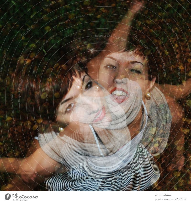 2for1 Human being Feminine Young woman Youth (Young adults) Woman Adults 18 - 30 years Dance Energy Double exposure strobo Rotate Joy Light heartedness Funny