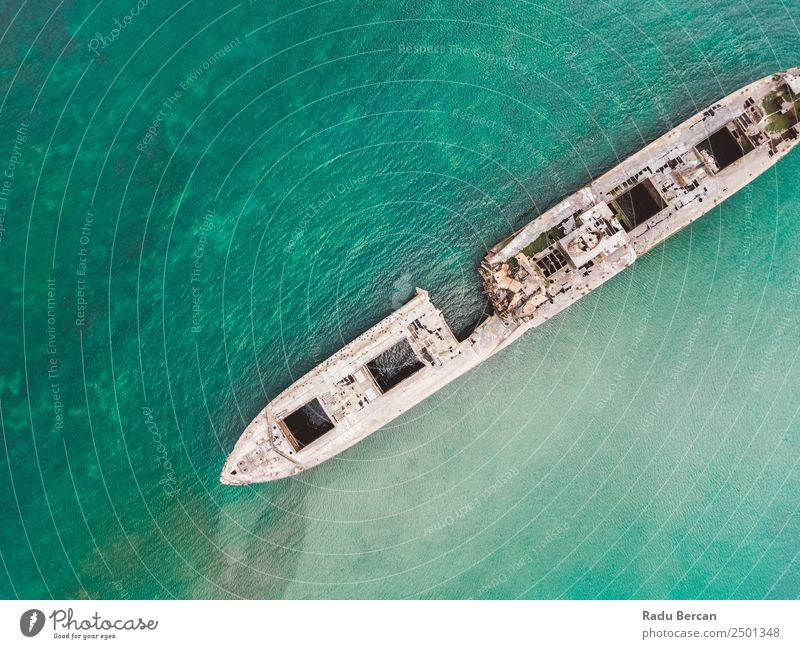 Aerial Drone View Of Old Shipwreck Ghost Ship Vessel Watercraft shipwrecked Beach Wreck Ocean abandoned Vacation & Travel Landscape Tourism Go under sunken