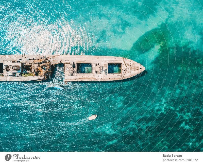 Aerial Drone View Of Old Shipwreck Ghost Ship Vessel Nature Vacation & Travel Summer Blue Colour Water Landscape Ocean Beach Environment Natural Coast Tourism