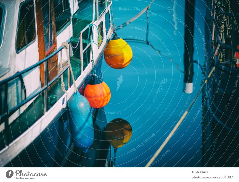 Harbour atmosphere with colourful fenders Navigation Boating trip Sport boats Motorboat Sailboat Yacht harbour Rope On board Vacation & Travel Logistics Gap