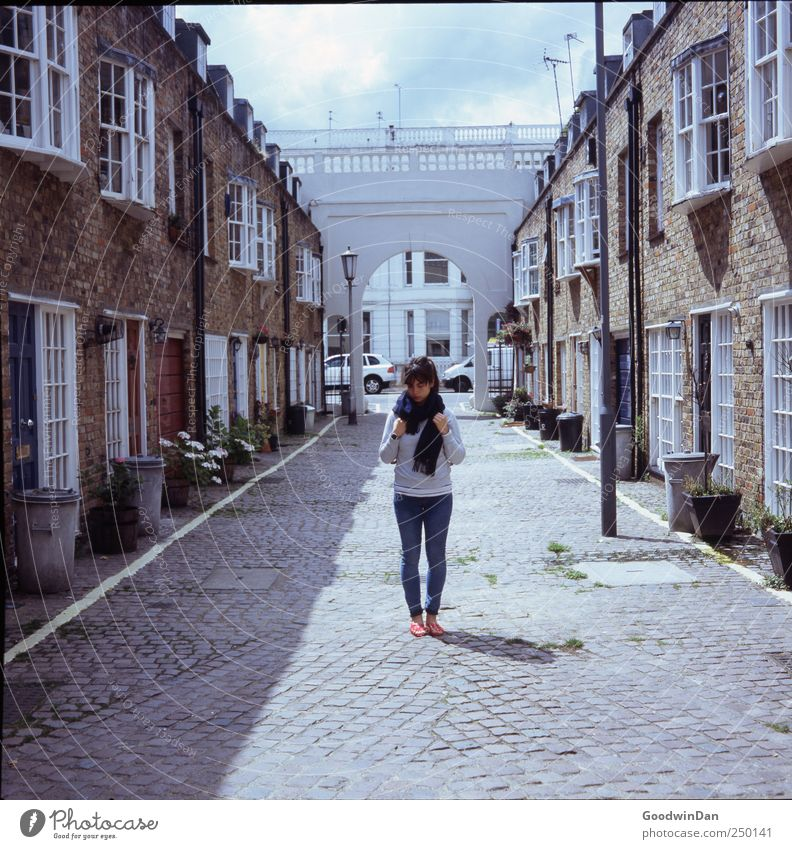 Woman Human being Youth (Young adults) Beautiful City House (Residential Structure) Feminine Wall (building) Architecture Wall (barrier) Building Adults Wait Facade Gloomy Authentic