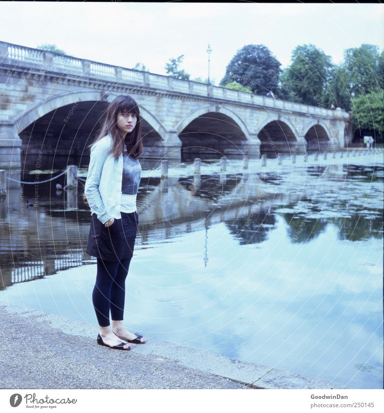 Hyde Park. Human being Feminine Young woman Youth (Young adults) 1 Environment Nature Lake Bridge Authentic Free Cold Beautiful Moody Colour photo Exterior shot