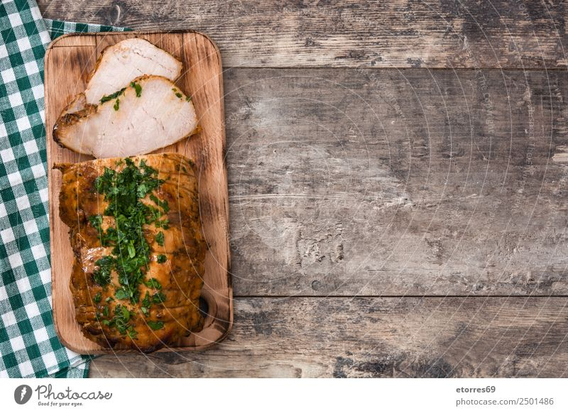 Roasted pork on wooden table Healthy Eating Old Christmas & Advent White Food photograph Wood Delicious Tradition Barbecue (event) Plate Dinner Meal Lunch