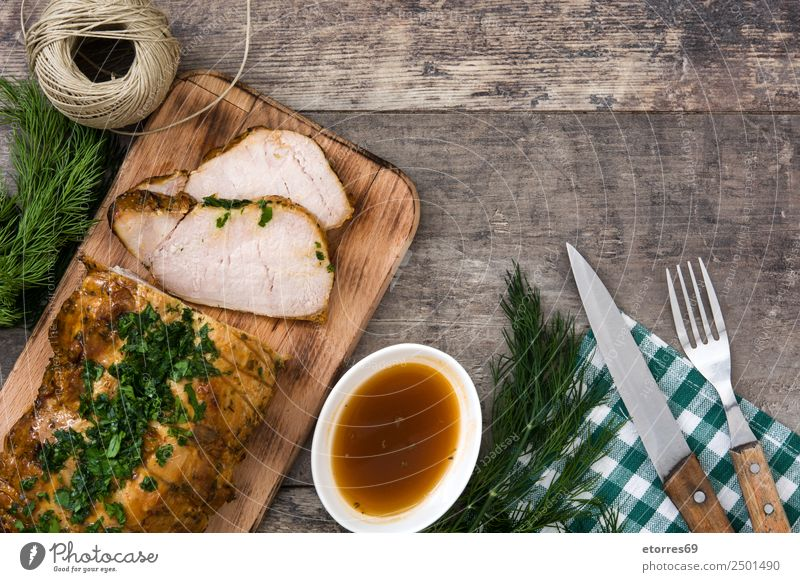 Roasted pork Old Healthy Eating Christmas & Advent White Dish Food photograph Wood Delicious Tradition Plate Dinner Meal Lunch Sauce