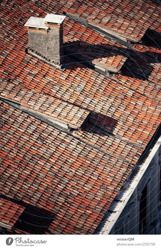 Climbing the roof Village Small Town Old town Deserted House (Residential Structure) Manmade structures Building Roof Eaves Chimney Red Tiled roof Roofing tile