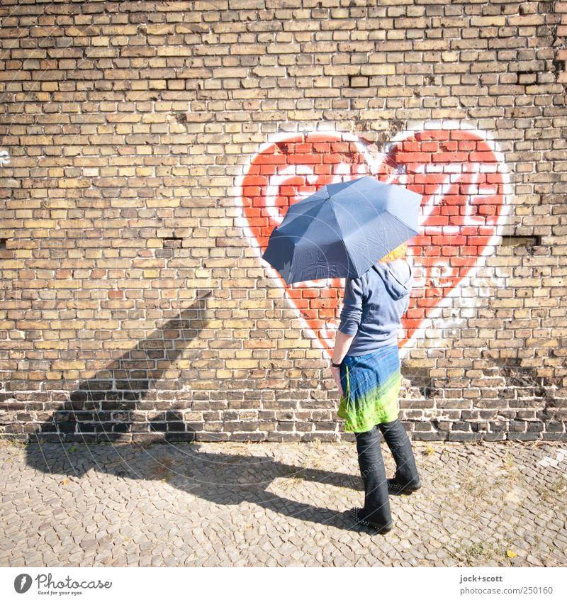 Umbrella in sunshine Happy Woman Kreuzberg Brick wall Skirt Pants Sweater Graffiti Heart Stand Joie de vivre (Vitality) Love Identity Center point Street art