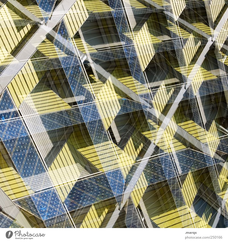 Blue Yellow Colour Style Line Facade Design Crazy Perspective Future Uniqueness Exceptional Solar Power Double exposure Innovative Solar cell