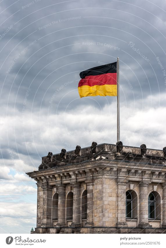 Bundestag, Reichstag in Berlin with German flag Town Capital city Downtown Identity Vacation & Travel Change Home country Germany German Flag Clouds in the sky